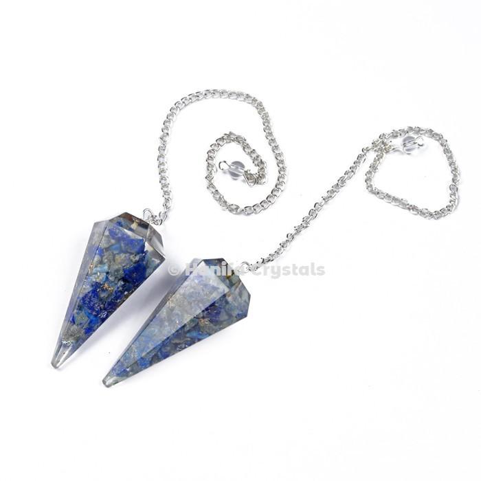 Lapis Lazuli Orgone Pendulum with Silver Chain