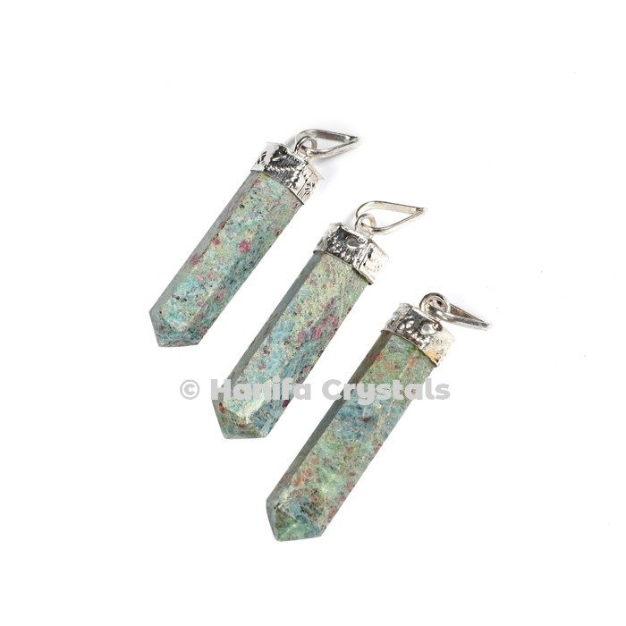 Ruby Zoisite with Silver Cap Pencil Pendant