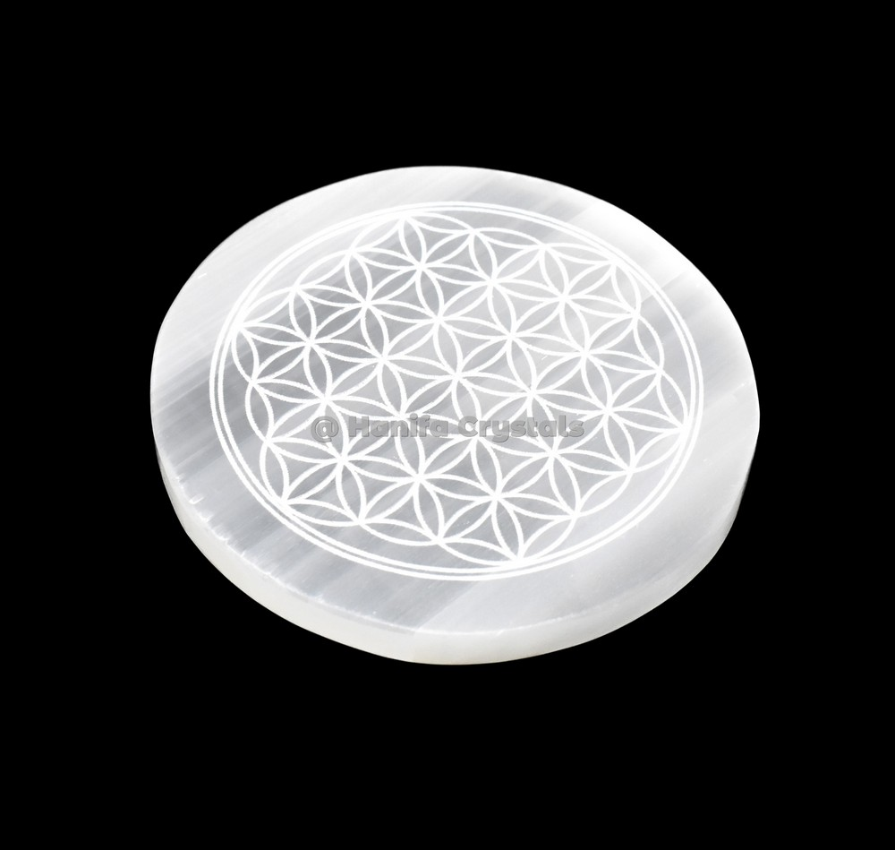 Flower Of Life Engraved Selenite Charging Disc