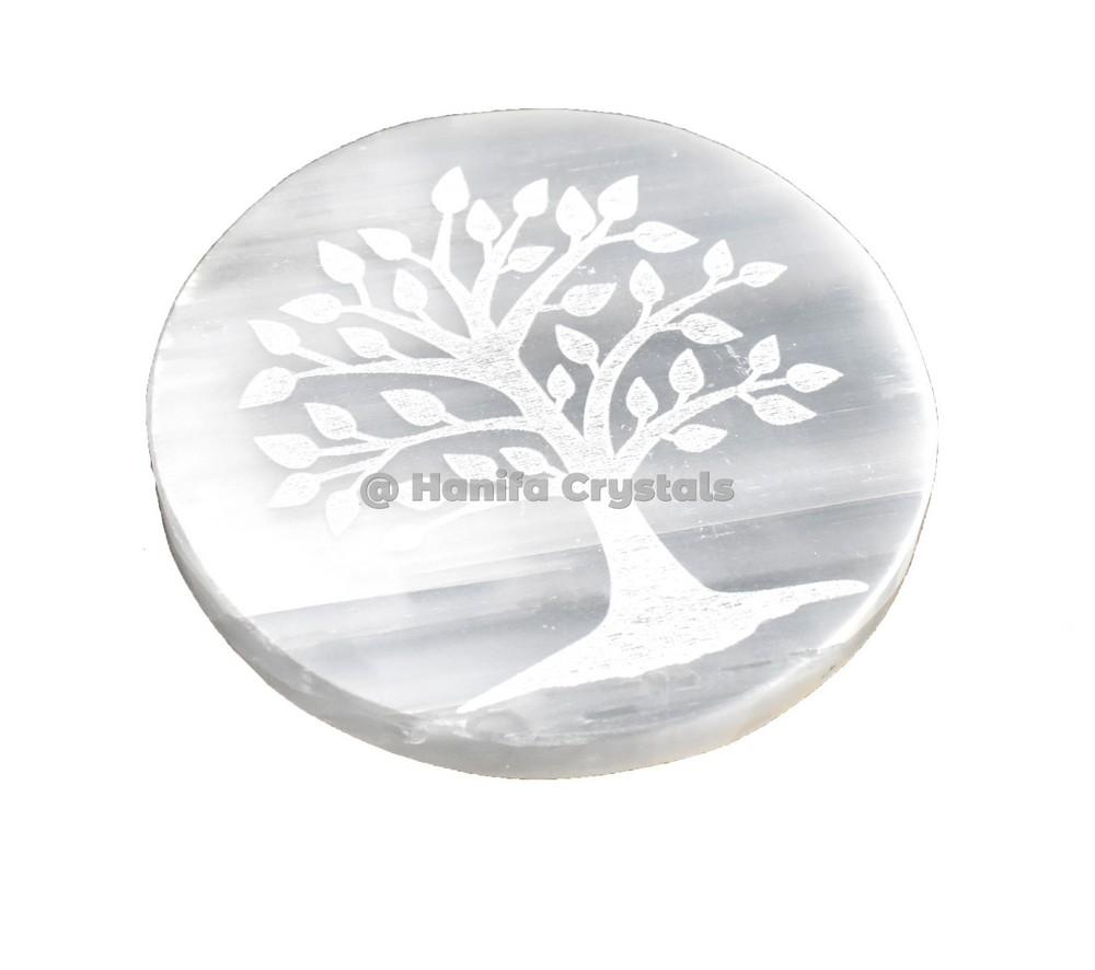 Tree Of Life Engraved Selenite Charging Disc