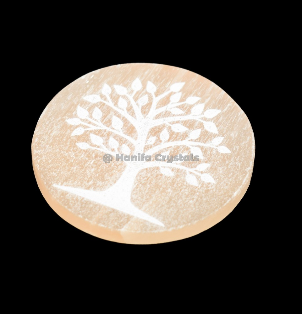 Tree Of Life Engraved Orange Selenite Charging Disc