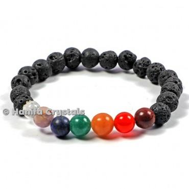 Chakra Stones With Lava Bracelets
