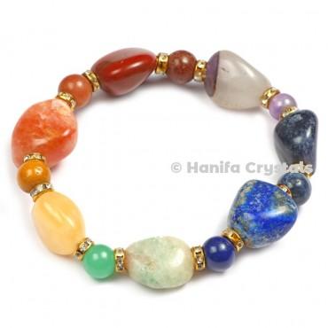 7 Chakra Tumbled With Round Beads Bracelet
