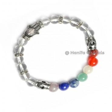 Crystal Quartz With Chakra Stones Hamsa Hand