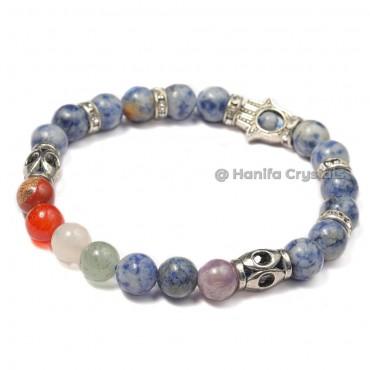 Sodalite 7 Chakra Bracelet With Hamsa Hand