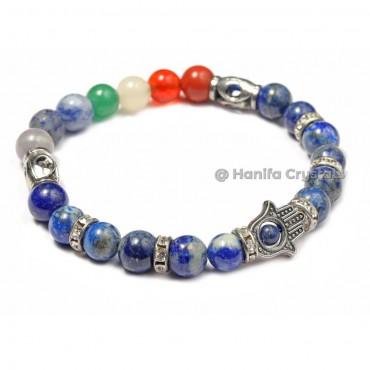 Lapis Lazuli With Hamsa 7 Chakra Bracelet