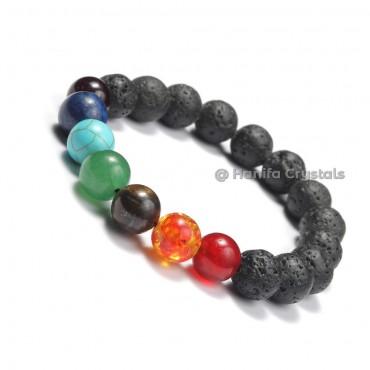 Lava Chakra Stones Bracelet Big Size