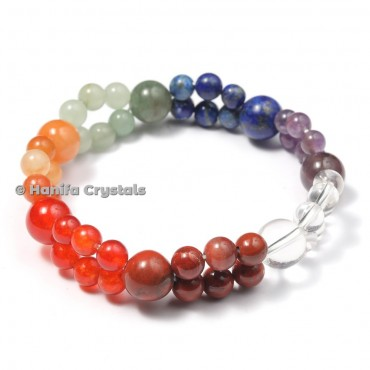 Crystals Seven Chakra Stone Double Line Bracelet