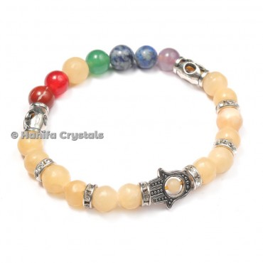 Golden Quartz Seven Chakra Bracelet With Hamsa