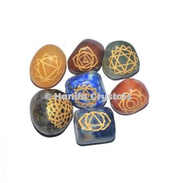 7 Chakra Engraved Tumbled Set