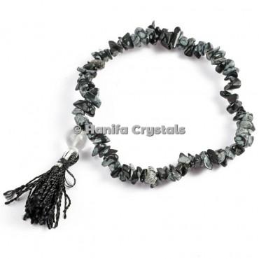 Snowflake Obsidian Chips Power Bracelet