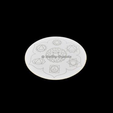Engraved Chakra Symbol MDF Coaster And Grid