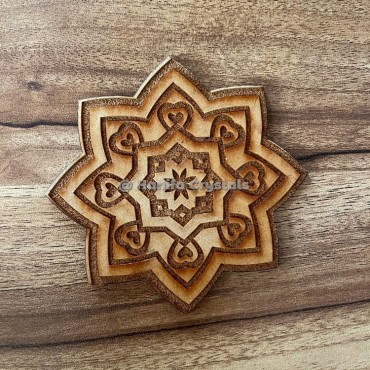 Mandala Pentagram Engraved MDF Coaster And Grid