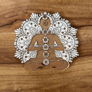 Buddha Chakra Engraved MDF Coaster And Grid