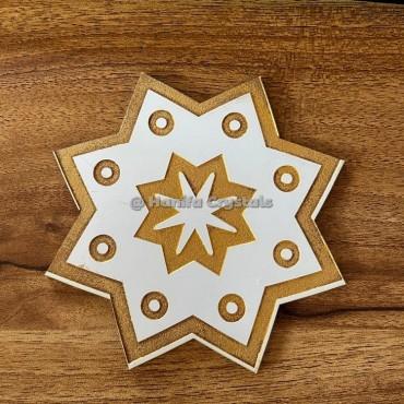 Pentagram Star Engraved MDF Coaster And Grid