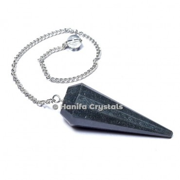 Hematite 12 Faceted Plain Pendulum