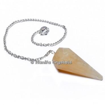 Golden Quartz 12 Faceted Plain Pendulum