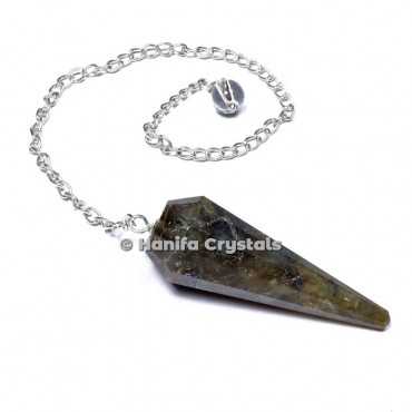 Labrodrite 12 Faceted Plain Pendulum