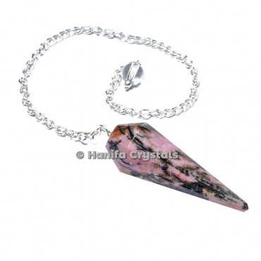 Rhodonite 12 Faceted Plain Pendulum
