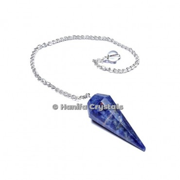 Sodalite 12 Faceted Plain Pendulum