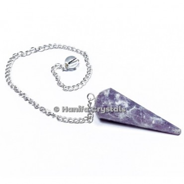 Lepidolite 12 Faceted Plain Pendulum