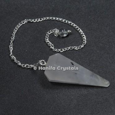 Black Rutile 6 Faceted Plain Pendulum