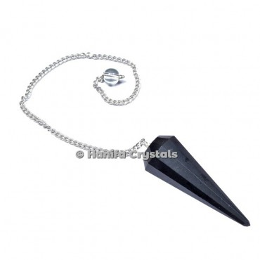 Black Obsidian 12 Faceted Plain Pendulum