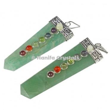 Green Aventurine with Seven Chakra Stones Flat Pendant