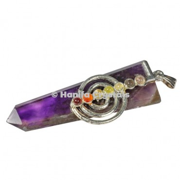 Amethyst with Seven Chakra Stones Flat Pendant
