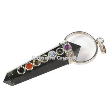 Black Tourmaline with Seven Chakra Stones Pencil Pendant