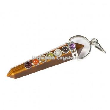 Tiger Eye  with Seven Chakra Stones Pencil Pendant