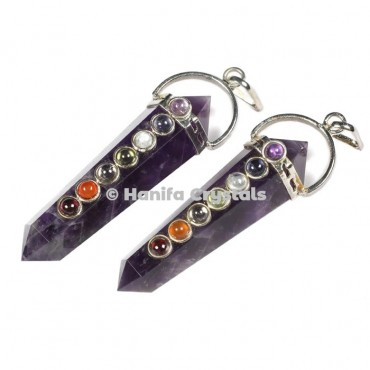 Amethyst  with Seven Chakra Stones Pencil Pendants