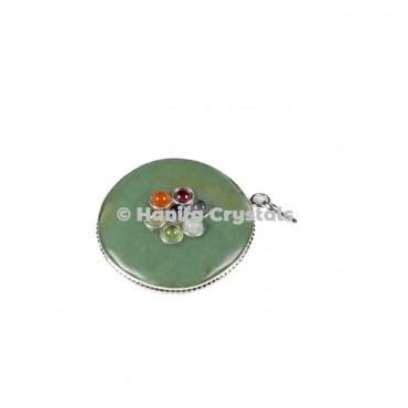 Green Aventurine with Seven Chakra Stones Disc Pendant