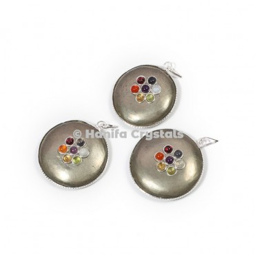 Pyrite with Seven Chakra Stones Disc Pendant