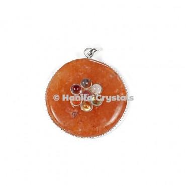 Peach Aventurine with Seven Chakra Stones Disc Pendant