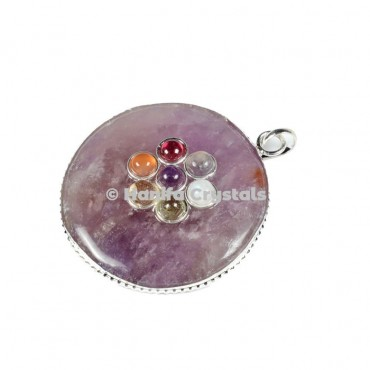 Amethyst with Seven Chakra Stones Disc Pendant