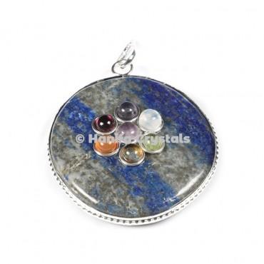 Lapis Lazuli with Seven Chakra Stones Disc Pendant