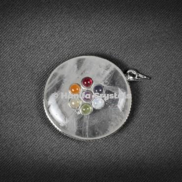 Crystal Quartz with Seven Chakra Stones Disc Pendant