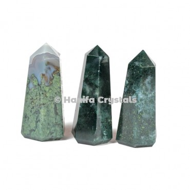 Moss Agate Pencil Point Obelisk