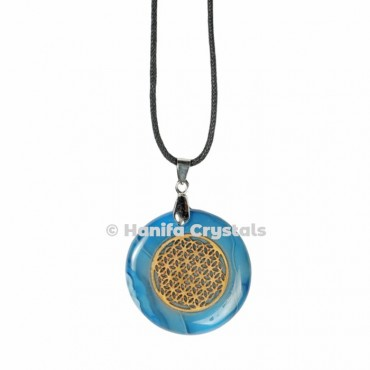 Engraved Blue Lace Agate Flower of Life Pendant