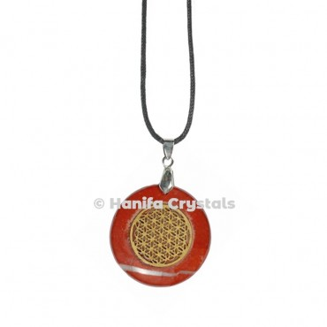 Engraved Red Jasper Flower of Life Pendant