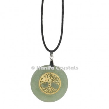 Engraved Green Aventurine Tree Of Life Pendant