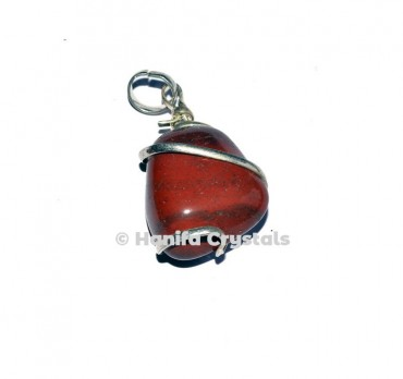 Red Jasper Wire Wrap Tumbled Pendant