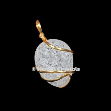 Crystal with Golden Wire Wrap Pendant