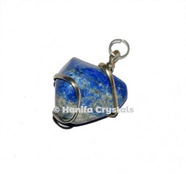 Lapis Lazuli Wire Wrap Tumbled Pendant