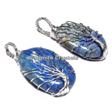 Tree Of Life Lapis Lazuli Pendants