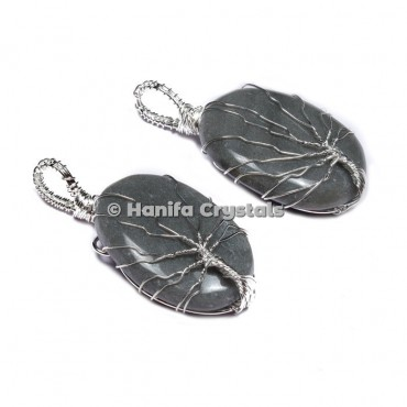 Grey Agate  Tree Of Life Pendants