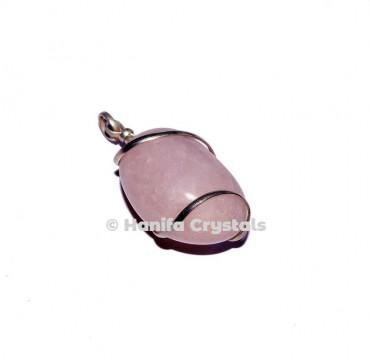 Rose Quartz Wire Wrap Tumbled Pendant