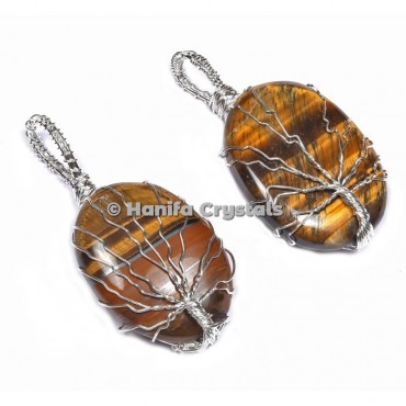 Tree Of Life Tiger Eye Pendants