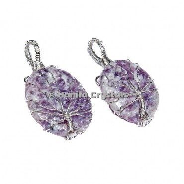 Tree Of Life Lepidolite Pendants